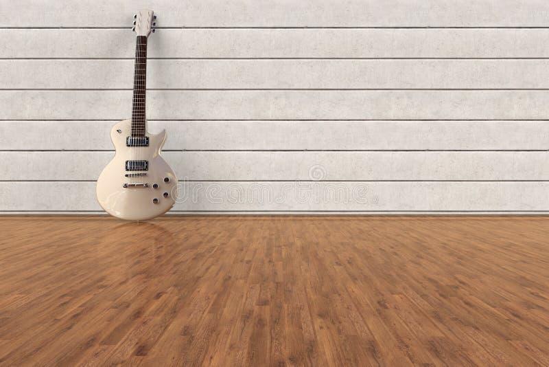 Una guitarra eléctrica en un cuarto vacío foto de archivo libre de regalías