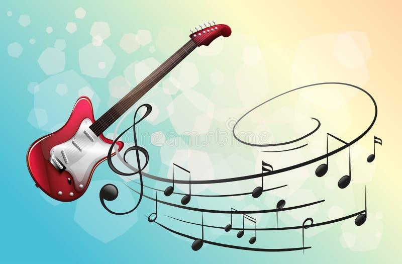 Una guitarra eléctrica roja con las notas musicales ilustración del vector