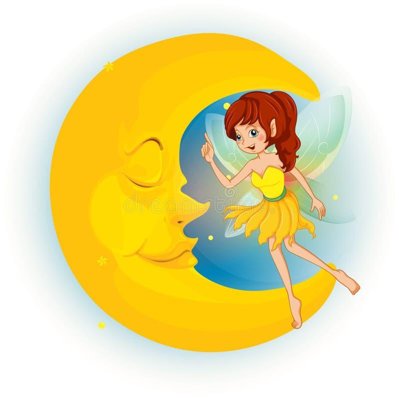 Una hada con un vestido amarillo al lado de una luna el dormir ilustración del vector