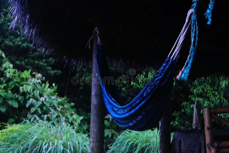 Una hamaca azul debajo de un tejado hecho de hojas en la selva foto de archivo libre de regalías