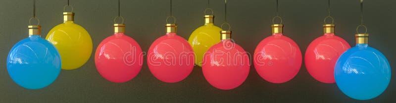 Una hilera de baubles de Navidad imagen de archivo libre de regalías