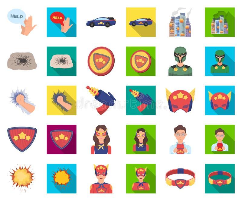 Una historieta fantástica del super héroe, iconos planos en la colección determinada para el diseño Web de la acción del símbolo  stock de ilustración