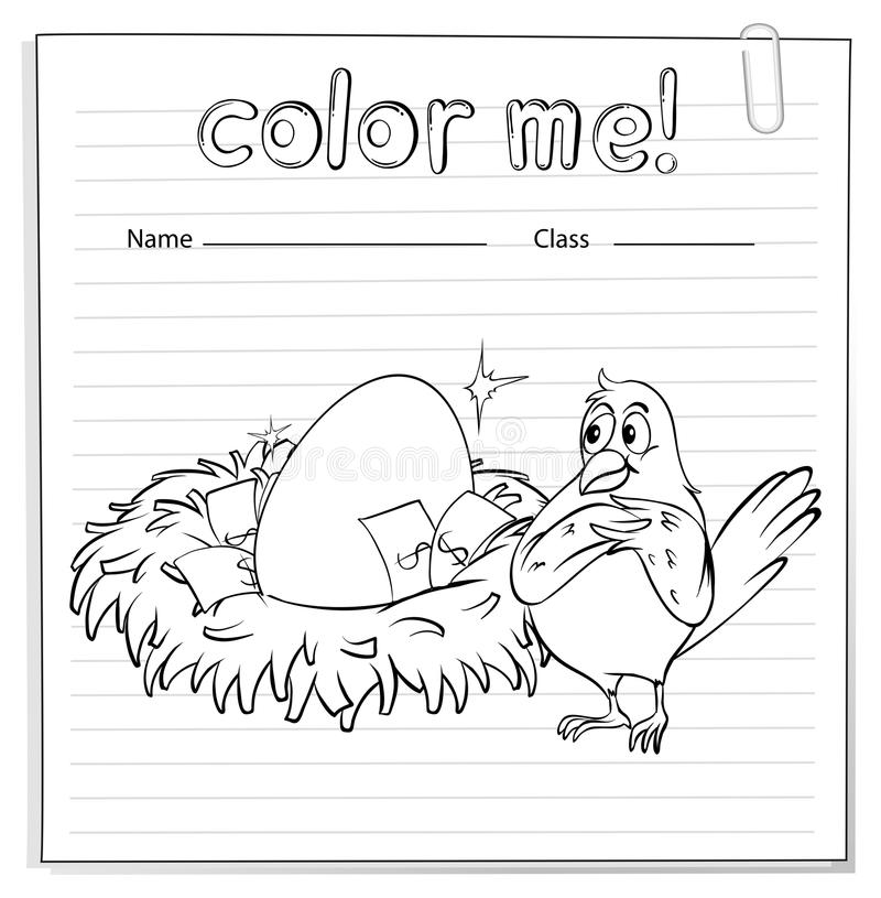 Una hoja de trabajo con una jerarquía y un pájaro stock de ilustración