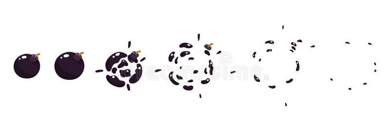 Una hoja del sprite, explosión de un boomb Animación para un juego o una historieta libre illustration
