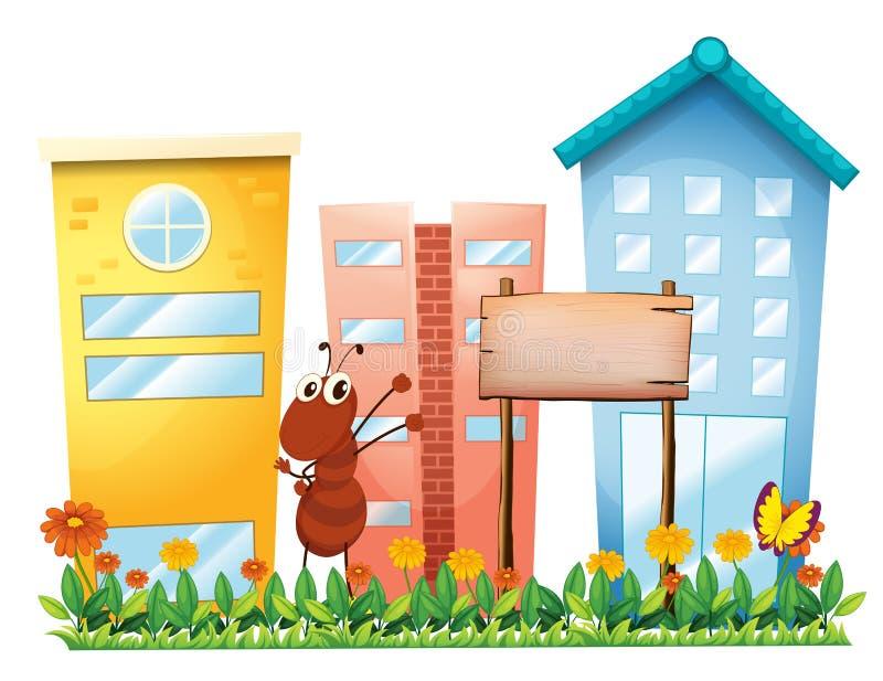 Una hormiga en el jardín con un letrero de madera ilustración del vector