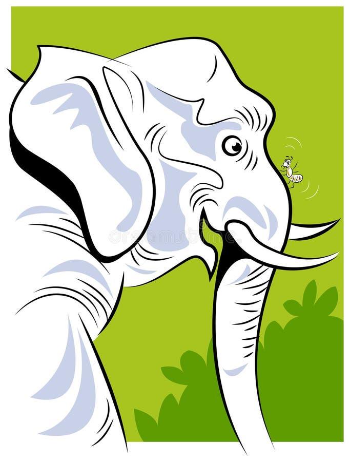 Una hormiga y un elefante ilustración del vector