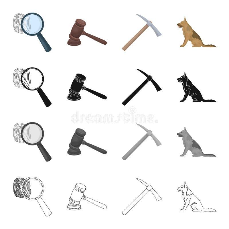 Una huella dactilar, un martillo del juez s, una piqueta, un perro del servicio Iconos determinados de la colección de la prisión libre illustration