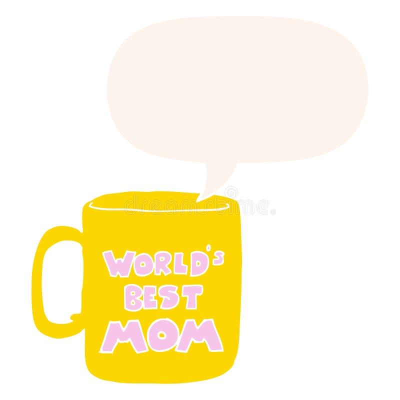 Una i migliori tazza e fumetto della mamma dei mondi creativi nel retro stile royalty illustrazione gratis