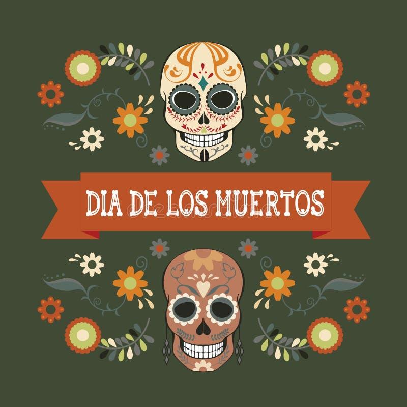 Una ilustración vectorial dedicada al Día Mexicano de los Muertos imágenes de archivo libres de regalías