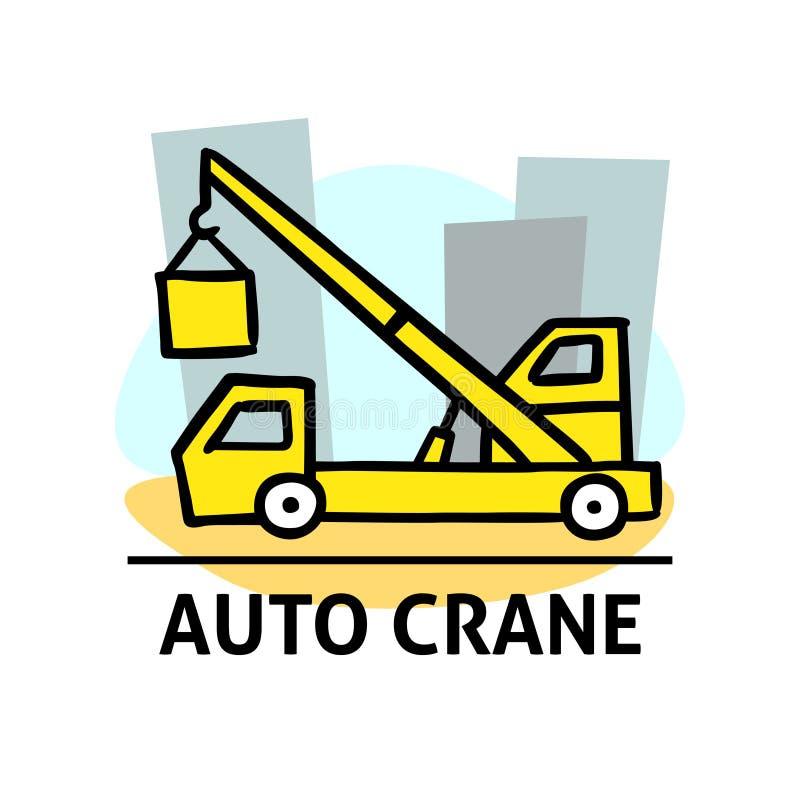 Una imagen cuadrada del vector de una grúa auto en un edificio Ejemplo del garabato del esquema Un diseño lindo de la historieta ilustración del vector