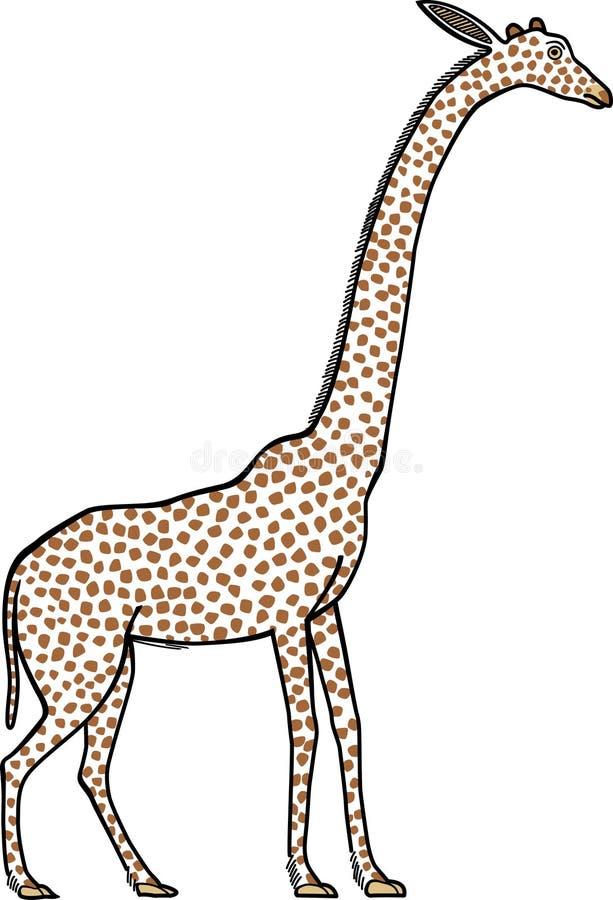 Una imagen de una jirafa pintada en un mural egipcio antiguo stock de ilustración
