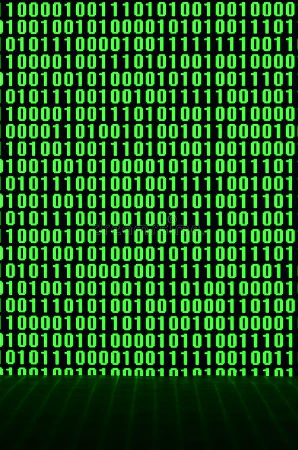 Una imagen de un código binario compuso de un sistema de dígitos verdes en un fondo negro imágenes de archivo libres de regalías