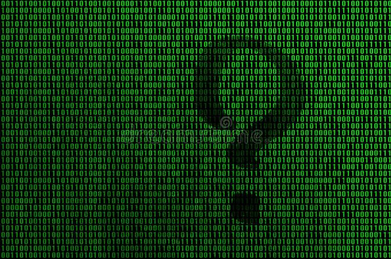 Una imagen de un código binario de los dígitos verdes claros, a través de los cuales la forma de un signo de interrogación es vis stock de ilustración