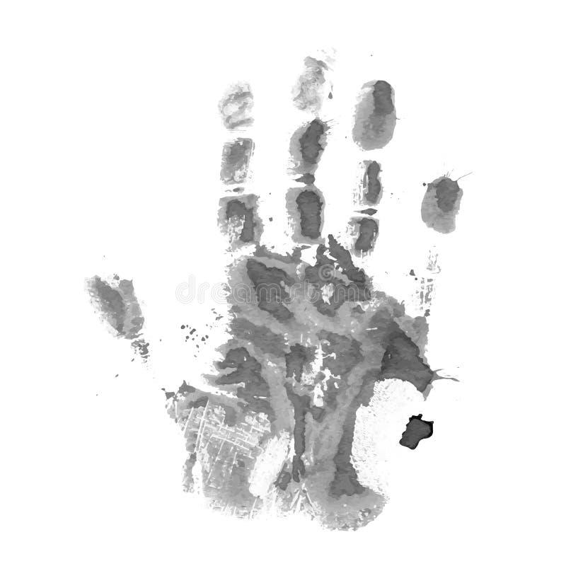 Una impresión gris de la mano, vector ilustración del vector