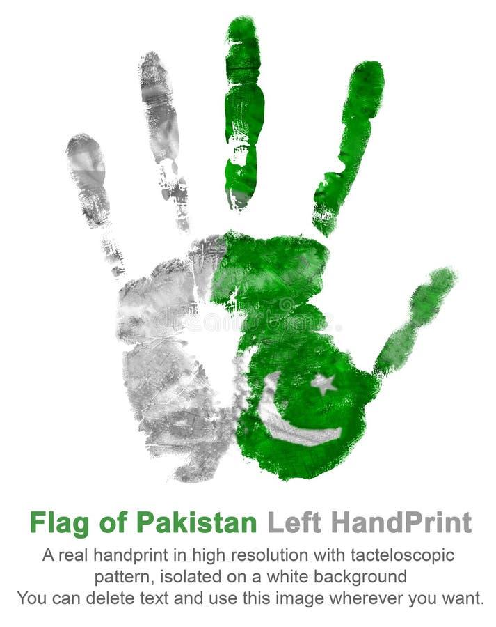 Una impresión real de la mano izquierda en los colores de la bandera de Paquistán Símbolo de días de fiesta y de fechas de Paquis ilustración del vector