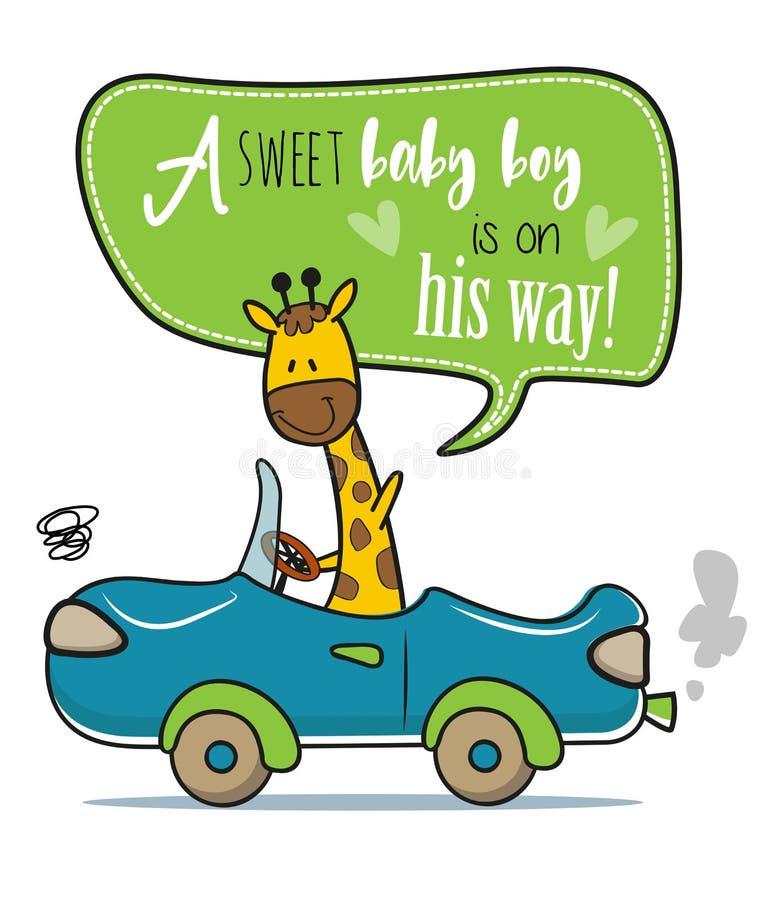 Una jirafa que agita y que conduce una invitación de la fiesta de bienvenida al bebé del coche ilustración del vector