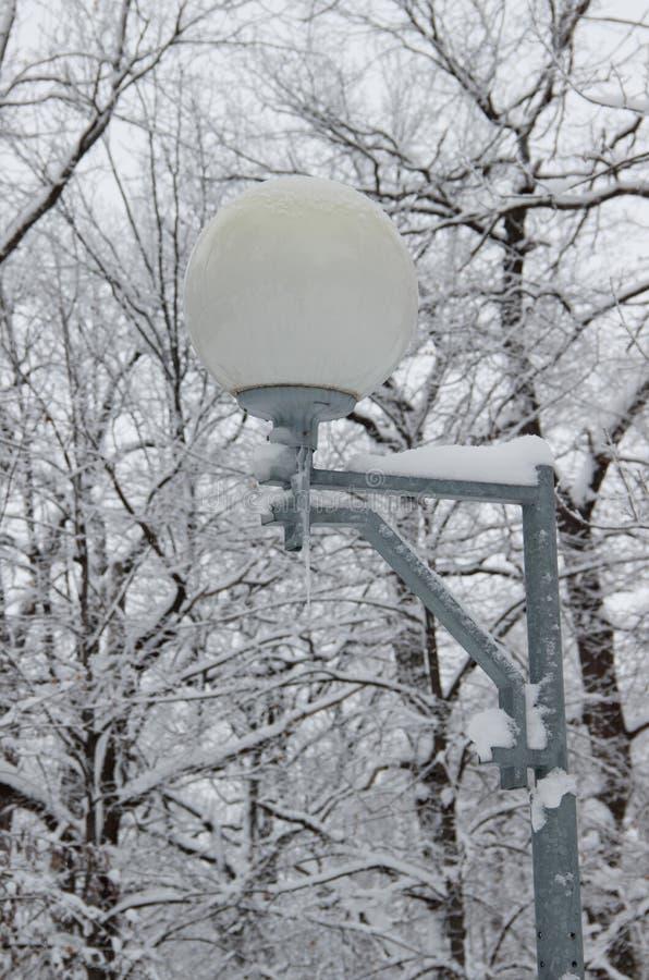 Una lámpara de calle bola-formada en parque vacío del invierno foto de archivo libre de regalías