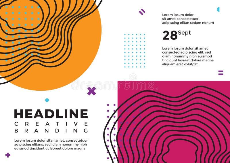 Una línea arte abstracta con la cubierta magenta anaranjada y púrpura stock de ilustración