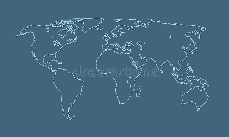 Una línea azul fresca y simple del mapa del mundo de países diferentes y de continentes ilustración del vector
