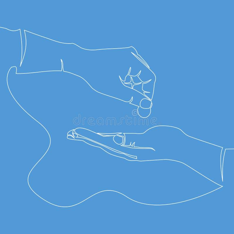 Una línea continua concepto de las limosnas del icono de la caridad libre illustration