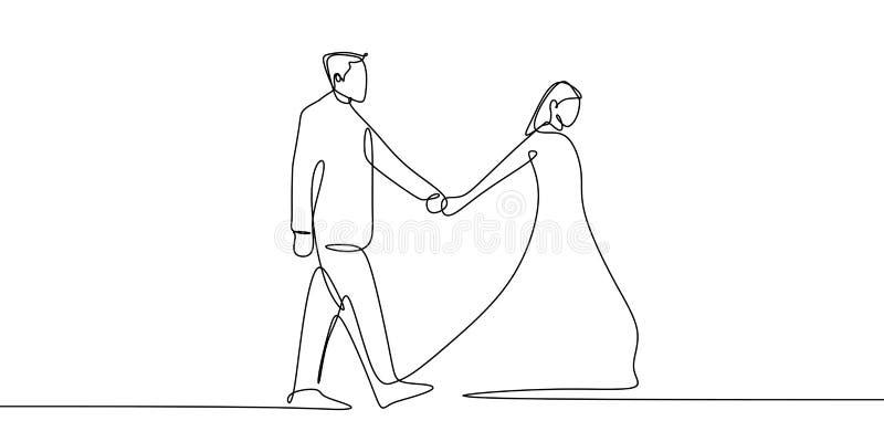 una línea continua dibujo del arte de los pares que llevan a cabo estilo del minimalismo del ejemplo del vector de las manos ilustración del vector