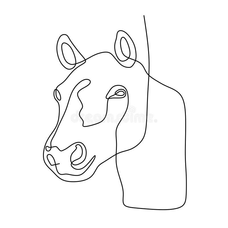 Una línea continua estilo minimalista del minimalismo del ejemplo del vector del diseño de la cabeza de caballo stock de ilustración