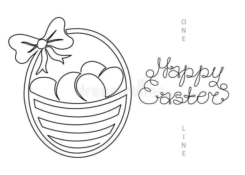 Una línea continua huevos de Pascua de la cesta de Pascua del dibujo del arte stock de ilustración