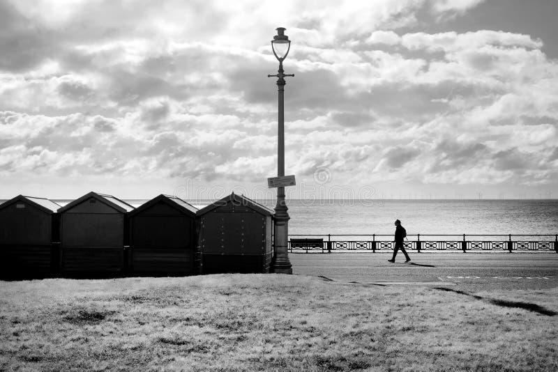 Una línea de cuatro chozas de la playa y una lámpara de calle silhoutted negro por el sol que brillaba directamente en la cámara  imagen de archivo