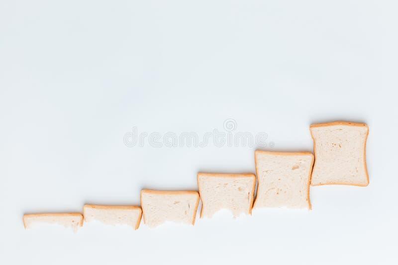 Una línea de rebanadas de pan que están consiguiendo más grandes y más grandes, en un fondo blanco imágenes de archivo libres de regalías