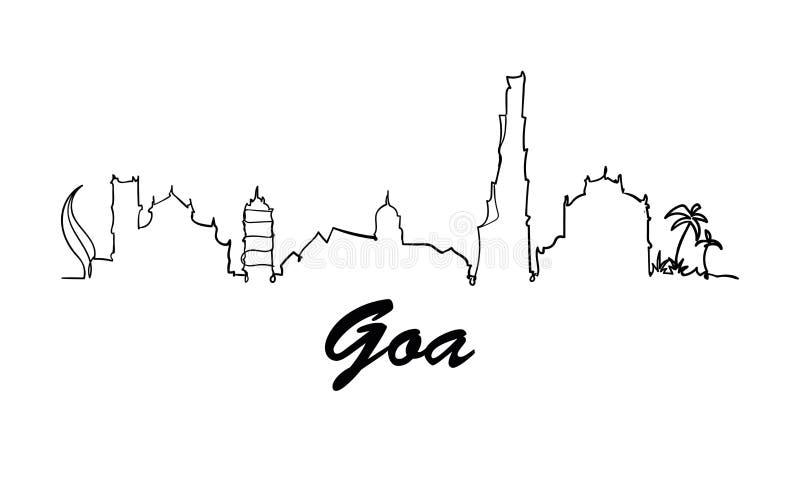 Una línea ejemplo del bosquejo de Goa del garabato del estilo aisló libre illustration