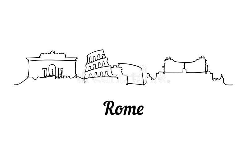 Una línea ejemplo del bosquejo de Roma del estilo en el fondo blanco ilustración del vector