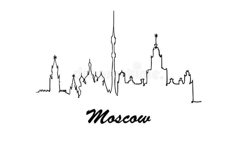 Una línea horizonte de la ciudad de Moscú del estilo Vector minimaistic moderno simple del estilo libre illustration