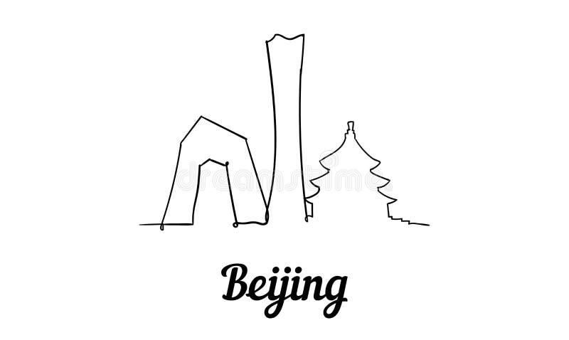 Una línea horizonte de Pekín del estilo Vector minimaistic moderno simple del estilo stock de ilustración