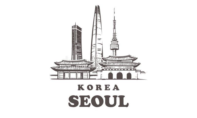 Una línea horizonte de Seúl del estilo Vector minimaistic moderno simple del estilo ilustración del vector
