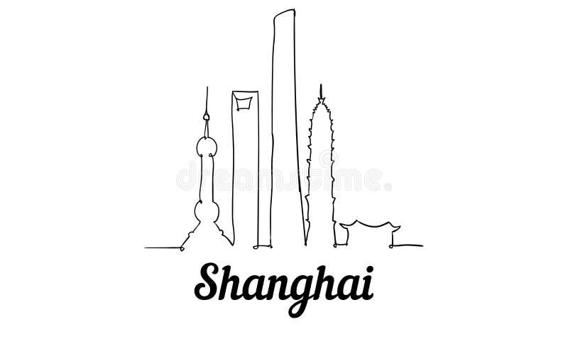 Una línea horizonte de Shangai del estilo Vector minimaistic moderno simple del estilo ilustración del vector