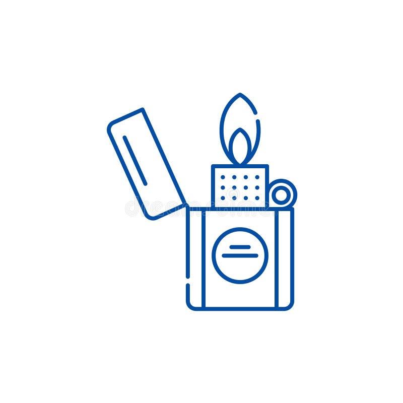 Una línea más ligera concepto del icono Símbolo plano del vector del encendedor, muestra, ejemplo del esquema ilustración del vector