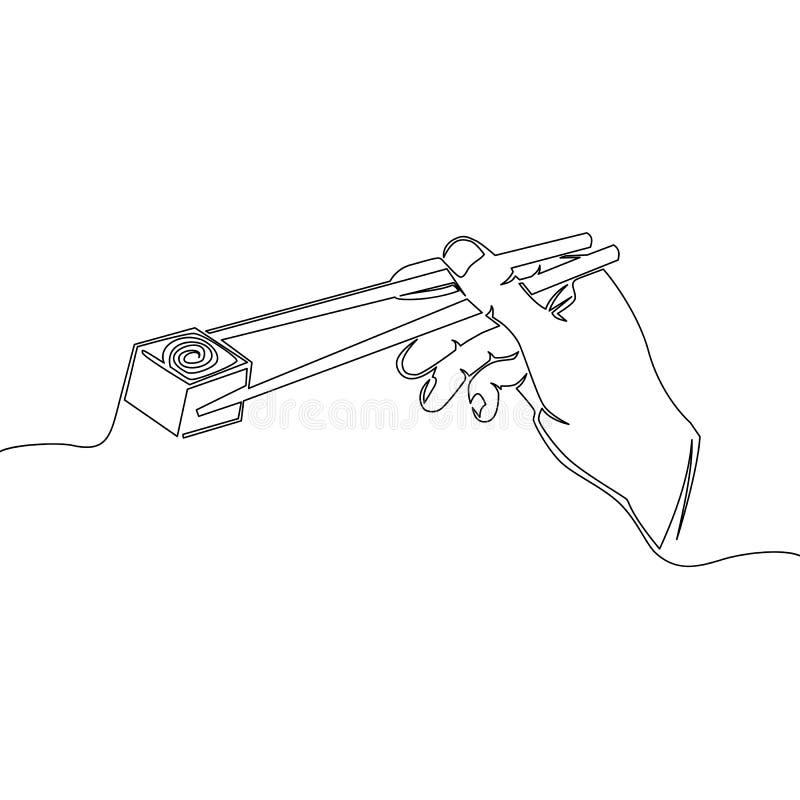 Una línea mano que sostiene los palillos con vector del sushi stock de ilustración