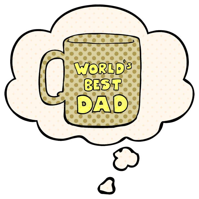 Una la migliore bolla della tazza e di pensiero del papà dei mondi creativi nello stile del libro di fumetti illustrazione vettoriale