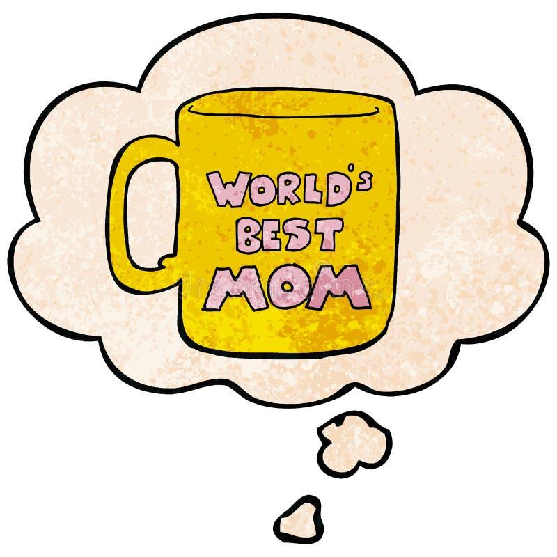 Una la migliore bolla della tazza e di pensiero della mamma dei mondi creativi nello stile del modello di struttura di lerciume illustrazione vettoriale