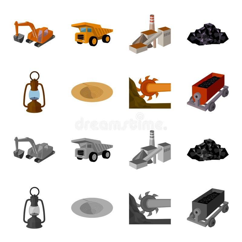 Una lampada di minatore, un imbuto, un'associazione di estrazione mineraria, un carrello con minerale metallifero Icone stabilite illustrazione vettoriale