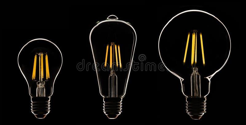 Una lampada di tre LED sul nero fotografia stock libera da diritti