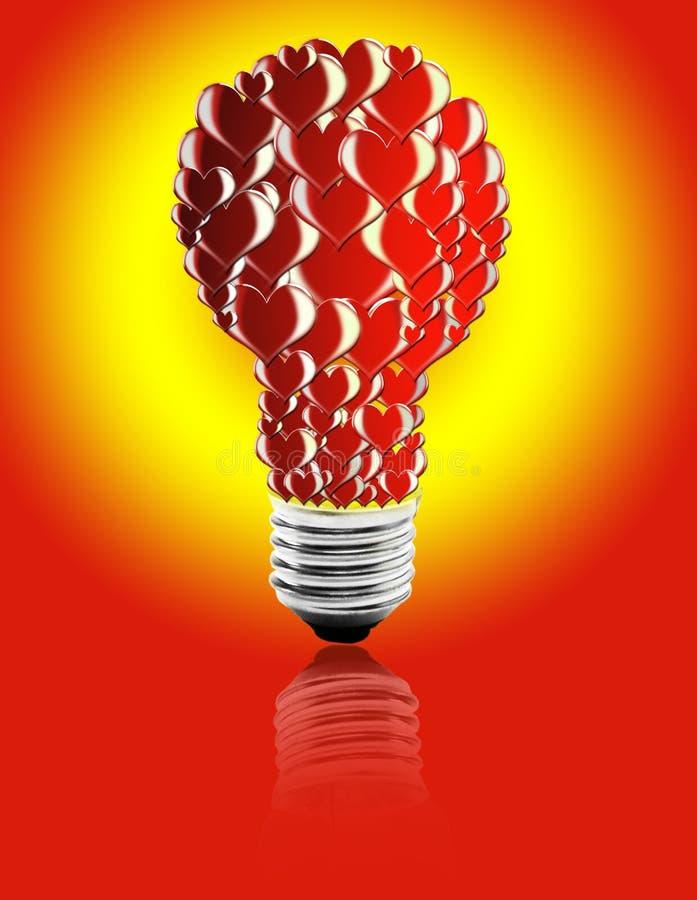 una lampadina dei cuori royalty illustrazione gratis