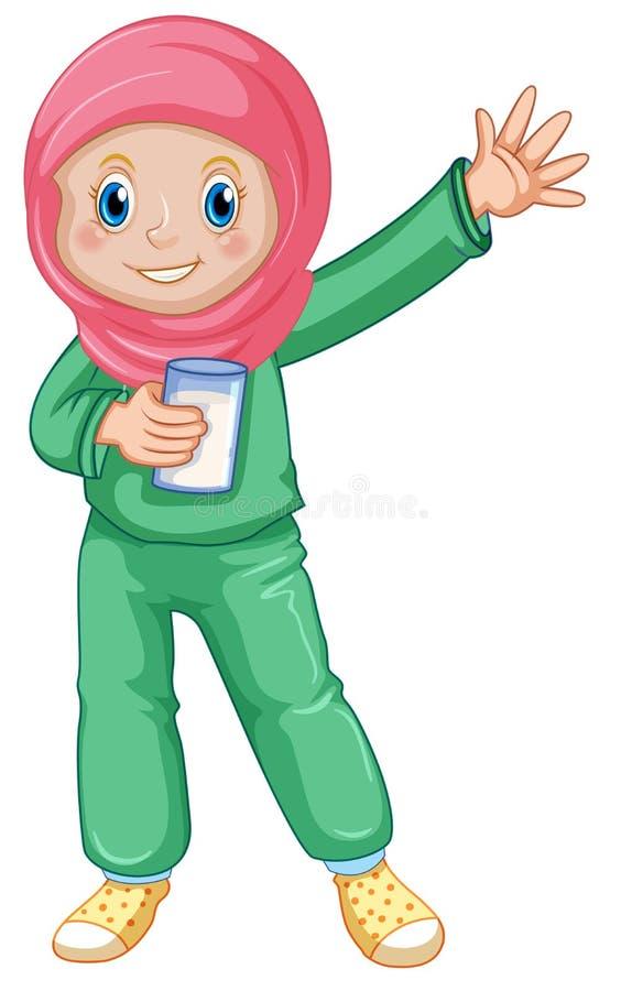 Una leche de consumo de la muchacha musulmán ilustración del vector