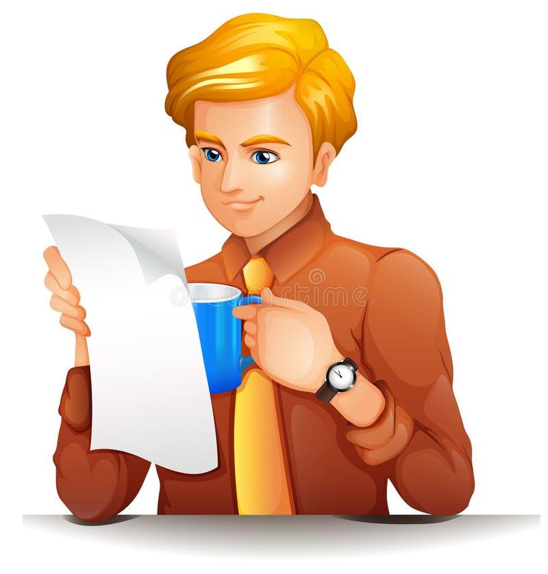 Una lectura del hombre mientras que sostiene una taza azul libre illustration