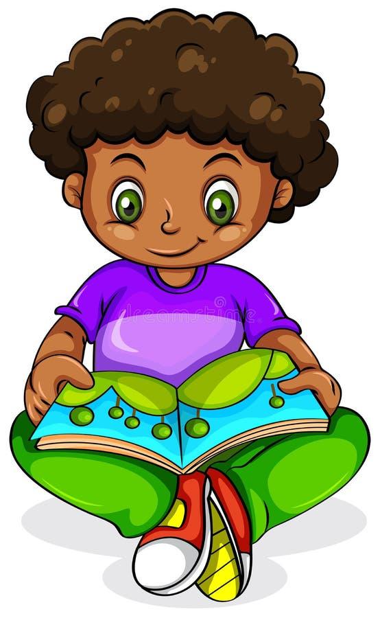 Una lectura negra joven de la muchacha ilustración del vector
