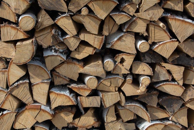 Una legna da ardere della betulla di struttura fotografia stock