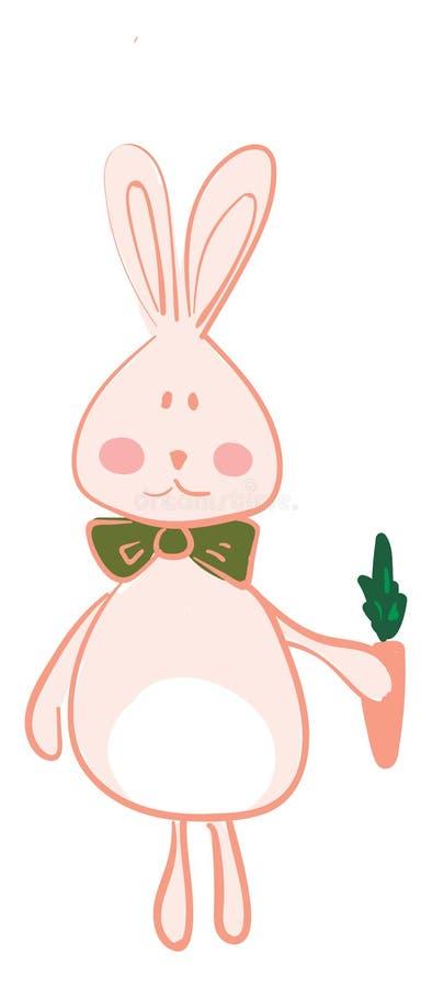 Una lepre con una cravatta al collo verde e un piccolo disegno o illustrazione a colori vettoriale di carota royalty illustrazione gratis