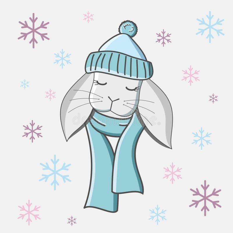Una lepre in un cappello blu con una sciarpa blu royalty illustrazione gratis