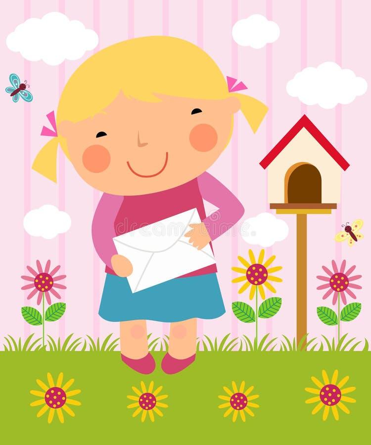 Una letra de la fijación de la niña ilustración del vector