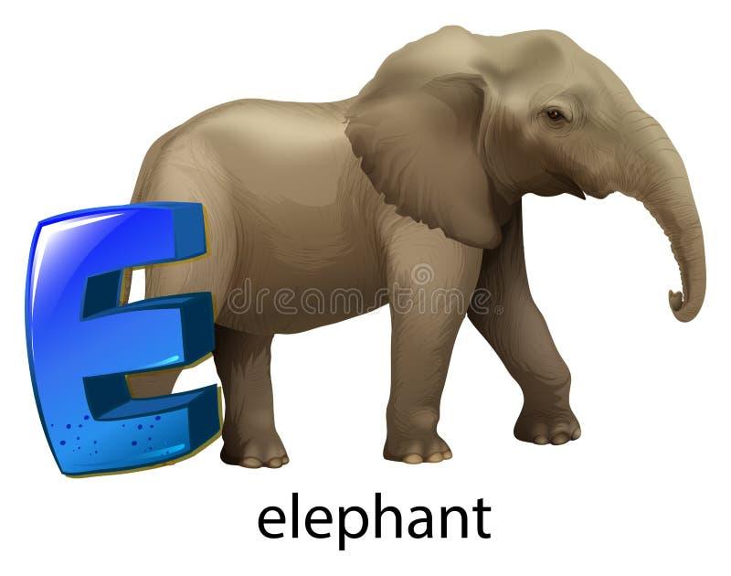 Una letra E para el elefante ilustración del vector